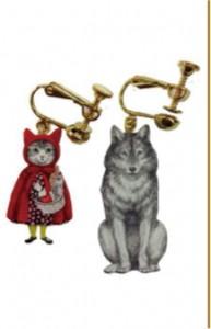 メラントリックヘムライト melantrick hemlighet 猫頭巾と狼の関係イヤリング