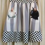 メラントリックヘムライト ホワイト&ブラックストライプスカート